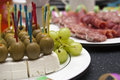 Brunch with cheese and olives Stock Photography