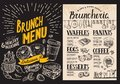 Brunch restaurant menu on blackboard background. Vector food fly