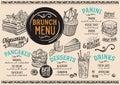 Brunch menu restaurant, food template.