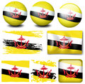 Brunei flag on different items illustration Royalty Free Stock Photo