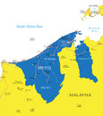 Brunei map highly detailed vector of with administrative regions main cities and roads Royalty Free Stock Photography
