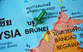 Brunei map macro shot of with push pin Royalty Free Stock Photography