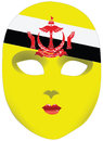 Brunei mask classic with symbols of statehood of vector illustration Stock Images
