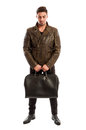Brunet male model wearing cool leather jacket Royalty Free Stock Photo