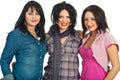 Brunetki piękny makeup trzy kobiety Obrazy Stock