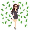 Brunett rich successful business woman Royaltyfri Foto