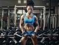 νέο προκ ητικό κορίτσι brunette στη γυμναστική που κάνει την άσκηση  ικέφα Στοκ Εικόνες