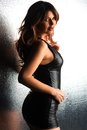 Brunette beautiful tall in a tight black leather dress Stock Images