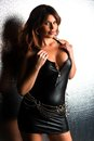 Brunette beautiful tall in a tight black leather dress Stock Image