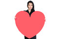 Brunette in black dress with heart made ​​of paper sensual hands isolated on white background Stock Photography
