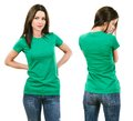 Brunette with blank green shirt photo of a beautiful woman ready for your design or artwork Royalty Free Stock Photography
