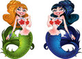 Brunette and Blond mermaids  Royalty Free Stock Photography