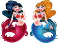 Brunette and Blond mermaids with pink and blue sca Royalty Free Stock Image
