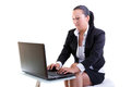 Brunette business woman with laptop Stock Image