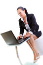 Brunette business woman working on the laptop Stock Photos
