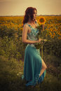 Brunette caucasian woman in blue dress at the park in flowers on a summer sunset holding sunflowers beautiful Stock Photos