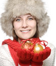 Brunette with christmas ball Royalty Free Stock Image