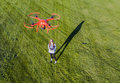 Brunette Coed Flying A Drone Royalty Free Stock Photo