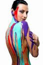 Brunette with colorful body painting Royalty Free Stock Photography