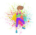 Brunette dancing zumba fitness girl over colorful splatter Stock Images