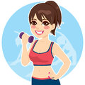 Brunette with dumbbell active practicing fitness exercise at the gym Royalty Free Stock Photos