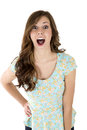 Brunette female model with a surprised or astonished expression Royalty Free Stock Photo