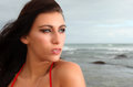 Brunette gazing into the distance a beautiful on beach is Royalty Free Stock Photo