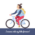 Brunette girl on the blue bike. Vector illustration and background. Royalty Free Stock Photo
