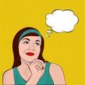 Brunette girl dreaming, pop art Royalty Free Stock Photo
