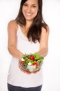 Brunette girl with fresh salad healthy lifestyle Stock Photo