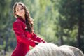 Brunette girl and horse young beautiful in long red dress play with white pony in green field Royalty Free Stock Photography