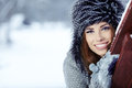 Brunette   girl i winter clothes Royalty Free Stock Image