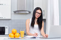 Brunette girl planing day at kitchen and using laptop. Royalty Free Stock Photo
