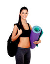 Brunette girl ready for the gym isolated on a white background Royalty Free Stock Photo