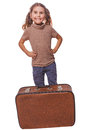 Brunette girl smiling child standing next to suitcase for travel traveling white background Stock Photos
