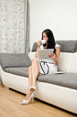 Brunette girl with tablet pc Royalty Free Stock Photos