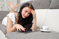 Brunette girl with tablet pc Royalty Free Stock Images