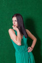Brunette in green dress against wall smile this image has attached release Stock Photography