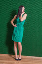 Brunette in green dress against wall weared standing indoors Stock Photos