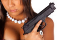 Brunette and gun Royalty Free Stock Photo