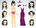 Brunette Hair Set Of Purple Paper Doll Royalty Free Stock Photo