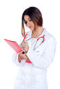 Brunette indian doctor woman with red folder Stock Photography