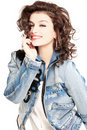 Brunette in jeans jacket Royalty Free Stock Images