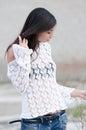 Brunette lady wear white gauzy shirt Royalty Free Stock Photo