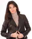Brunette in a leather jacket Royalty Free Stock Photo