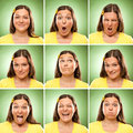 Brunette long hair adult caucasian woman square collection set of face expression like happy, sad, angry, surprise, yawn on green Royalty Free Stock Photo