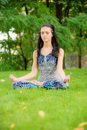 Brunette in pose asana Royalty Free Stock Images