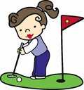 Brunette putter girl putting on the green Royalty Free Stock Image