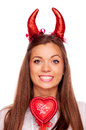 Brunette with red horns and heart beautiful devil words i love you isolated on white Stock Images