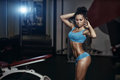 Brunette fitness girl posing in the gy Royalty Free Stock Photo